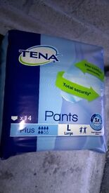 Tena Pants Plus Large - packs of 14, have several packs about 12 packs at £8.00 each