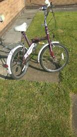 Folding bike by Raleigh stoway 3 model with sturmey archer gears ideal for caravan etc