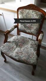 Antique floral Anne chair