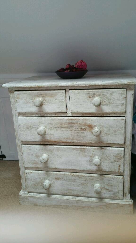 Chest of drawers, solid wood, shabby chic