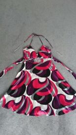 Satin effect summer dress with jewel details, size 8