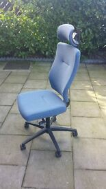 Office Chair with Headrest and Lumbar Support - Blue