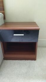 Gloss black and walnut bedroom furniture set