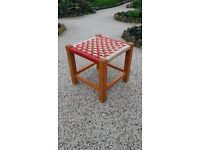 Vintage little stool with woven STRING SEAT and HARD WOOD frame. 1970's.