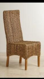 6 high back grass woven dining chairs
