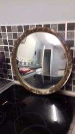 old wooden ship bevelled mirror needs tlc