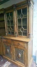 Solid oak dresser / display cabinet