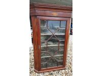 Georgian Glass Fronted Mahogany Inlaid Conch Shell Veneer Corner Display Cabinet