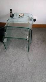Set of two solid glass tables