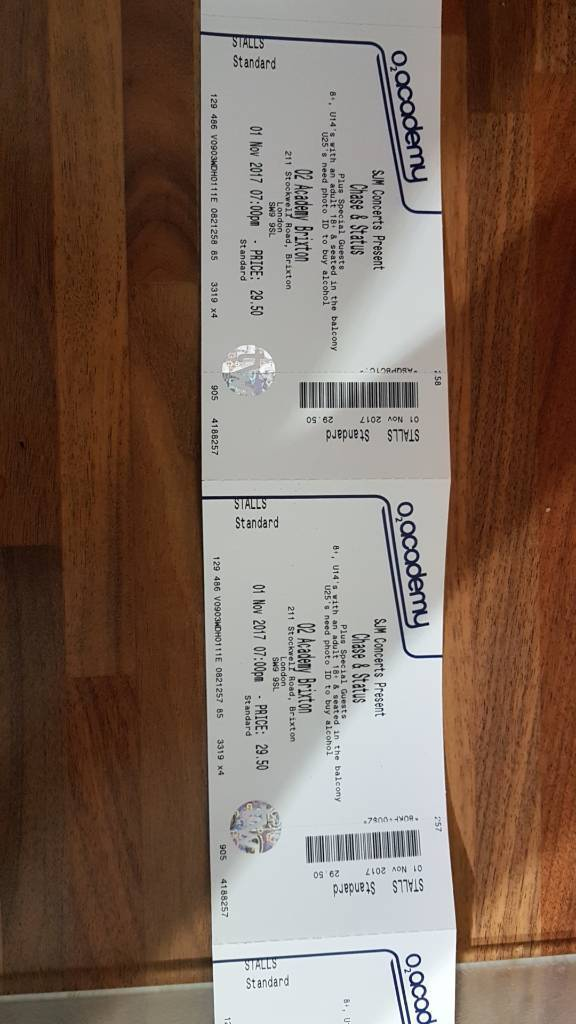 Chase & Status Tickets. 1st November at 02 Academy Brixton x2