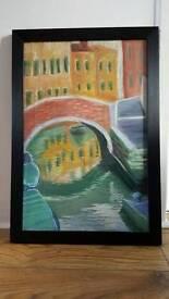 'The Venetian Canal' Original Artwork pastel painting