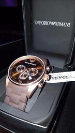 Mens Emporio Armani AR5890 Rose Gold Rubber Strap Chronograph Watch