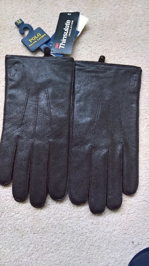Polo Ralph Lauren brown leather men's gloves - size M - brand new with tags