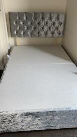 Small double grey crushed velvet bed