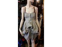 Iconic All Saints Nightingale Melody stripe hitched dress, size 8