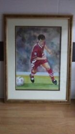 "ROBBIE FOWLER COLOURED WATERCOLOUR PICTURE - HOME PAINTED - 13"" wide x 17"" high - LFC LEGEND"