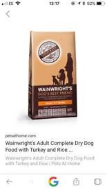 Wainwright puppy food, two big bags