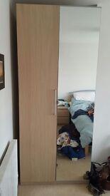 2 Ikea PAX wardrobes, light oak/mirrored doors, bespoke interiors - like fitted wardrobes