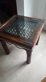 Side table with glass top and metal insert