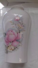 Vase- Melba Ware; Staffordshire; cream background with pink rose and yellow daisy design;