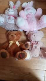 4 soft teddies/bunnies HAMLEYS