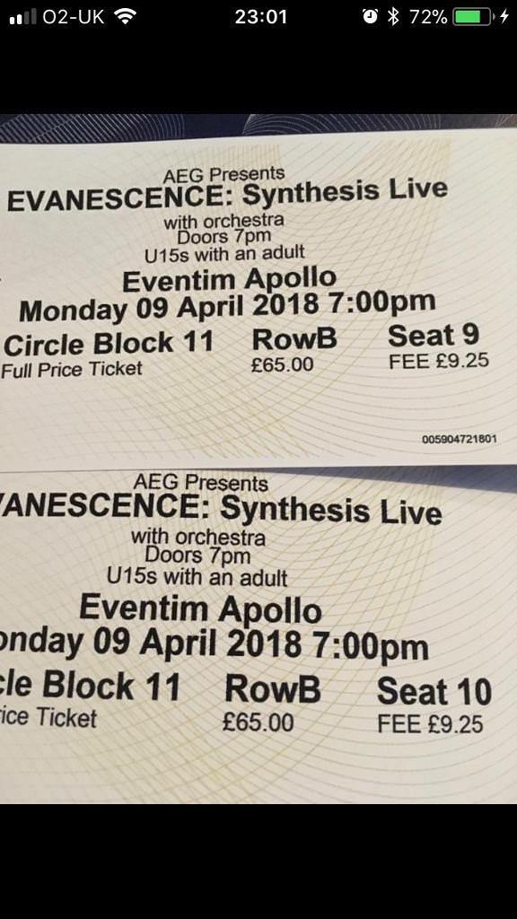 Evanescence tickets 09/04/18 at eventim apollo tickets in hand