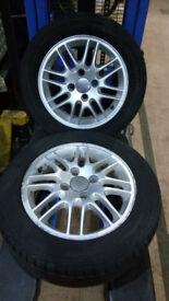 2X Ford Focus MK1 15'' wheels & tyres for sale. Set of 2. 6J ET52.5 4x108