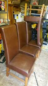 6x Reid's Oak Framed Brown Leather Chairs