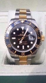 rolex submariner black face new 2017 updated version two tone sapphire glass 2.5xdate magnification