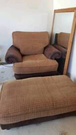One seater arm chair+foot stool