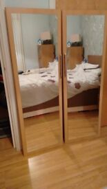 Two 3/4 length mirror doors in good condition, was part of wardrobe