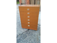 light brown wood 6 drawer chest of drawers