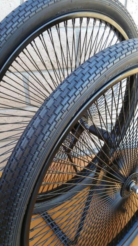 """Pair 26"""" Cruiser Lowrider Bicycle Dayton BLACK Wheels 144 Spokes Tires & Tubes"""