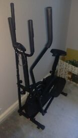 Bench, weights, Cross Trainer and pull up bar