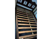 Dark Brown Pine double bed with memory foam mattress