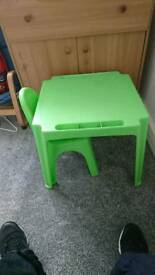 Child's plastic desk and chair