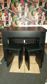 Legia Black Dining table & 4 stools