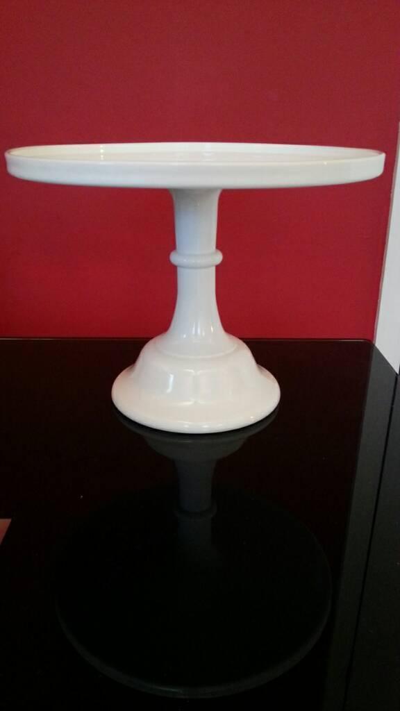 "12"" white Mosser Milk Glass cake stand"