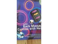 back massage cushing with heat 12 volt in car mains adaptor