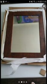 New boxed solid wood mirrors