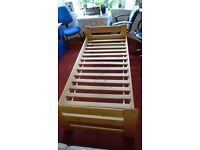 3' Single Wooden Framed Bed with Slatted Base (No Mattress)