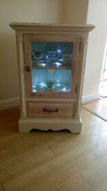 Small Solid Wood Chalk Painted Cabinet with Drawer