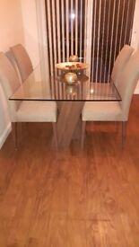 Harveys glass table 4 x chairs