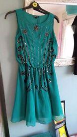 Green beaded dress, size 12