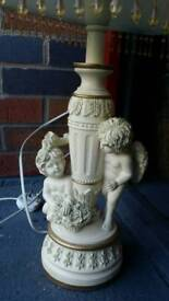 Large cherub lamp and large guild frame picture £30