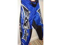wulfsport race pants motocross motox quad blue youth junior kids size 26 age 9-10 approx