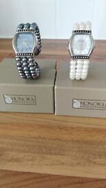 TWO LOVELY HONORA PEARL WATCHES