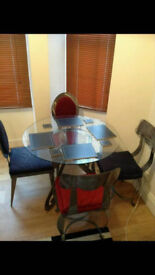 Glass Dining Room Table and Chairs set