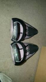 Black French connection peep toe swarovski crystal shoe in box