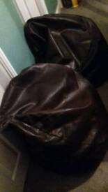 2 next Brown leather bean bags